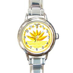 National Emblem of Bangladesh Round Italian Charm Watch