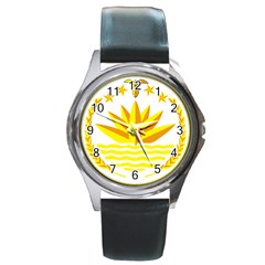 National Emblem of Bangladesh Round Metal Watch