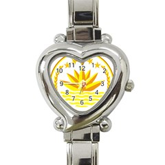 National Emblem of Bangladesh Heart Italian Charm Watch