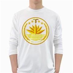 National Emblem of Bangladesh White Long Sleeve T-Shirts