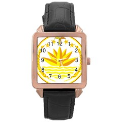 National Emblem of Bangladesh Rose Gold Leather Watch