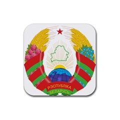 Coat of Arms of The Republic of Belarus Rubber Coaster (Square)