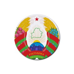 Coat Of Arms Of The Republic Of Belarus Rubber Coaster (round)