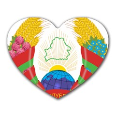 Coat of Arms of The Republic of Belarus Heart Mousepads