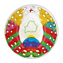 Coat of Arms of The Republic of Belarus Round Filigree Ornament (2Side)