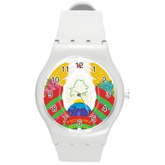 Coat of Arms of The Republic of Belarus Round Plastic Sport Watch (M)