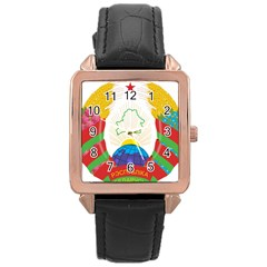 Coat of Arms of The Republic of Belarus Rose Gold Leather Watch