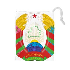 Coat of Arms of The Republic of Belarus Drawstring Pouches (Large)