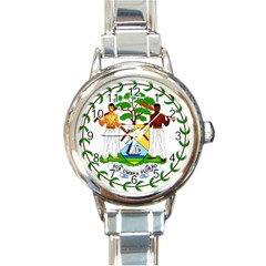 Coat of Arms of Belize Round Italian Charm Watch