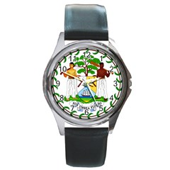 Coat of Arms of Belize Round Metal Watch
