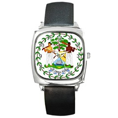 Coat of Arms of Belize Square Metal Watch