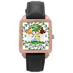 Coat Of Arms Of Belize Rose Gold Leather Watch
