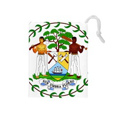Coat of Arms of Belize Drawstring Pouches (Medium)