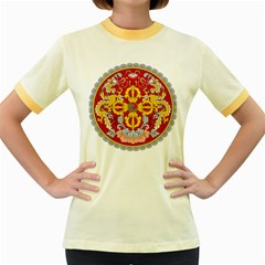 National Emblem of Bhutan Women s Fitted Ringer T-Shirts