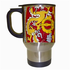 National Emblem of Bhutan Travel Mugs (White)