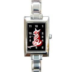 Red abstract cat Rectangle Italian Charm Watch