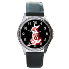 Red abstract cat Round Metal Watch