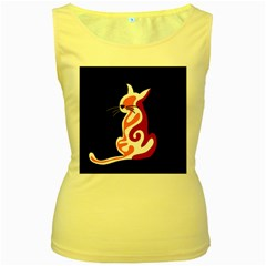 Red abstract cat Women s Yellow Tank Top