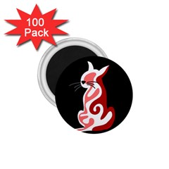Red abstract cat 1.75  Magnets (100 pack)