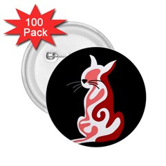 Red abstract cat 2.25  Buttons (100 pack)