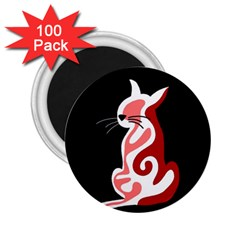 Red abstract cat 2.25  Magnets (100 pack)