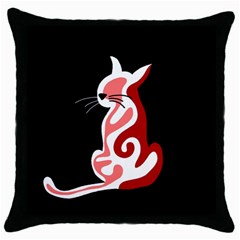 Red abstract cat Throw Pillow Case (Black)