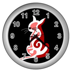 Red abstract cat Wall Clocks (Silver)