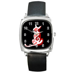 Red abstract cat Square Metal Watch