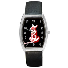 Red abstract cat Barrel Style Metal Watch