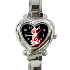 Red abstract cat Heart Italian Charm Watch