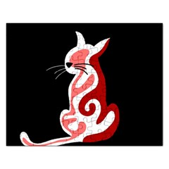 Red abstract cat Rectangular Jigsaw Puzzl