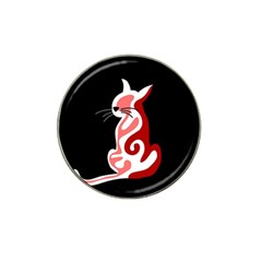 Red abstract cat Hat Clip Ball Marker (10 pack)