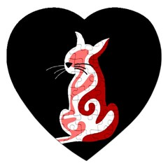 Red abstract cat Jigsaw Puzzle (Heart)