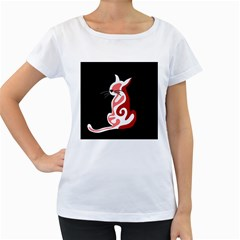 Red abstract cat Women s Loose-Fit T-Shirt (White)