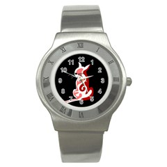 Red abstract cat Stainless Steel Watch