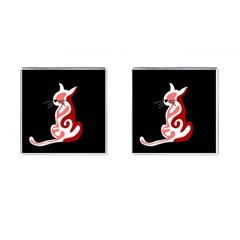 Red abstract cat Cufflinks (Square)