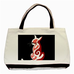 Red abstract cat Basic Tote Bag