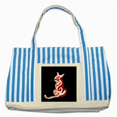 Red abstract cat Striped Blue Tote Bag