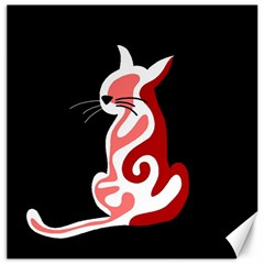 Red abstract cat Canvas 12  x 12