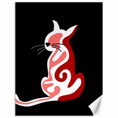 Red abstract cat Canvas 12  x 16