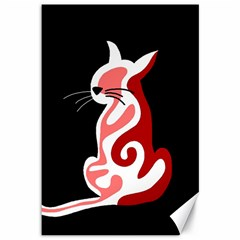 Red abstract cat Canvas 12  x 18