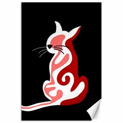Red abstract cat Canvas 20  x 30
