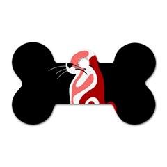 Red abstract cat Dog Tag Bone (Two Sides)