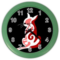 Red abstract cat Color Wall Clocks