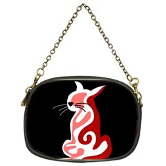 Red abstract cat Chain Purses (One Side)