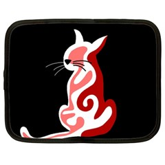 Red abstract cat Netbook Case (XL)