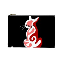 Red abstract cat Cosmetic Bag (Large)