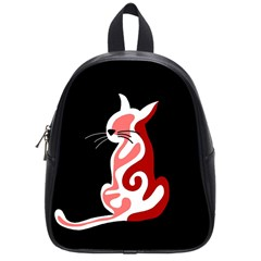 Red abstract cat School Bags (Small)