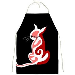 Red abstract cat Full Print Aprons