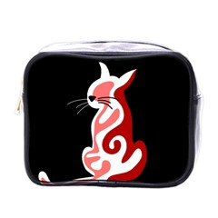 Red abstract cat Mini Toiletries Bags
